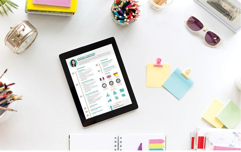 Un Curriculum Vitae simple proposant une mise en page harmonieuse et des informations présentées à l'aide de dessins ludiques