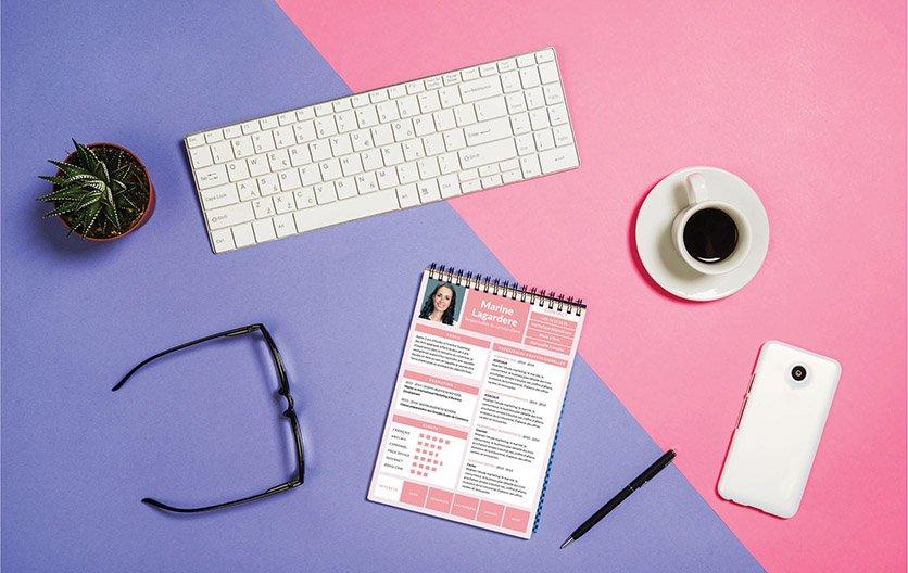 Un modèle de CV typiquement féminin par ses couleurs et sa mise en page.