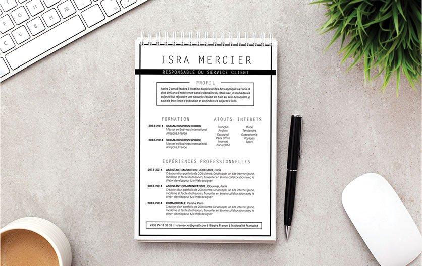 Curriculum vitae offrant une mise en page simple et contenant l'essentiel des qualités et atouts professionnels du postulant.