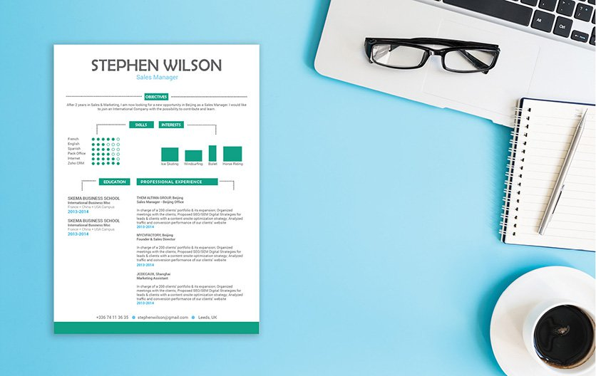 A great CV template with a great format and design!