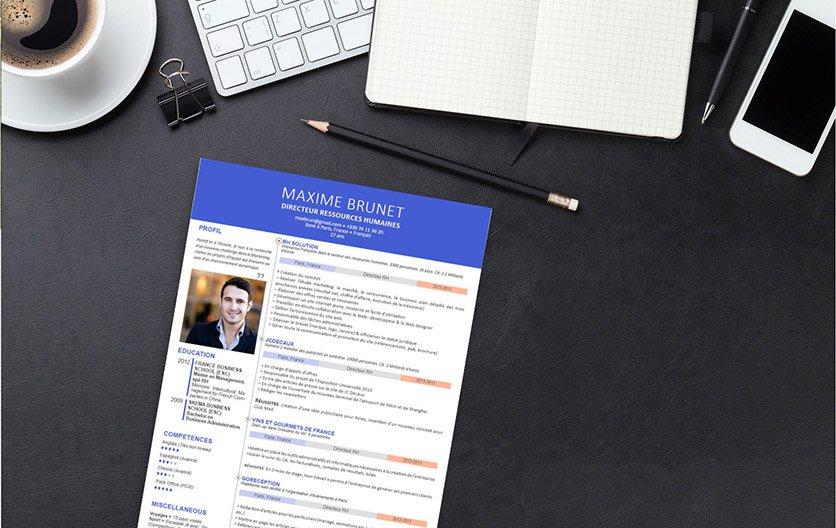 Un CV créatif, reflétant le caractère posé, la capacité d'adaptation et l'ouverture d'esprit du candidat.