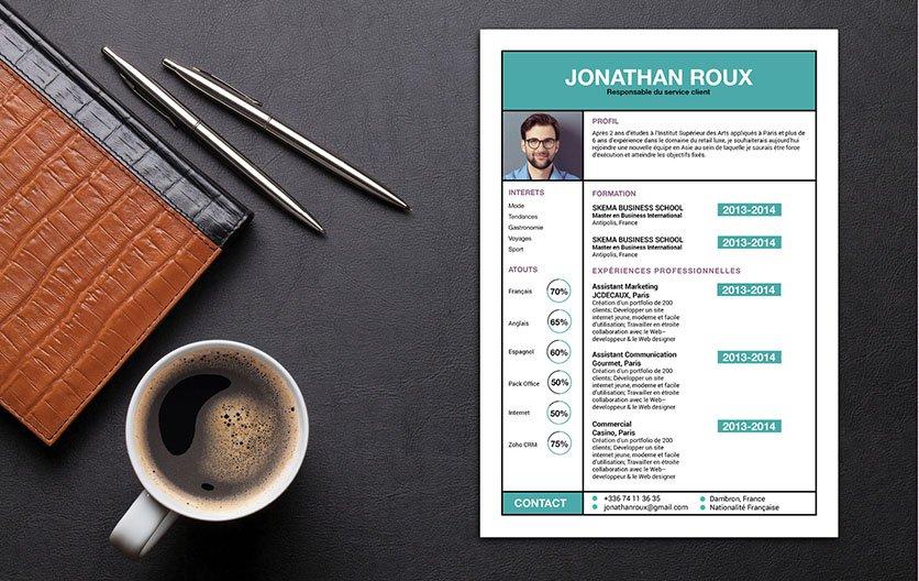 Un CV original agençant correctement et agréablement chaque détail de ses informations.