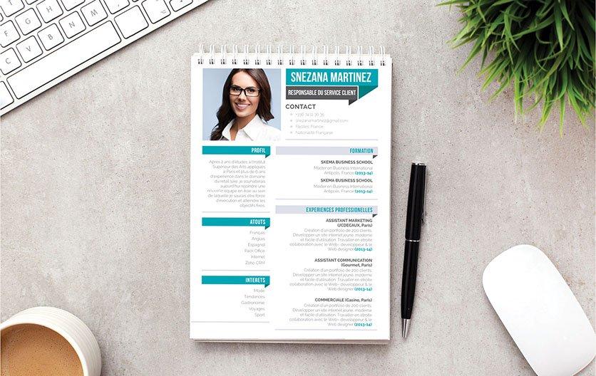 Un CV design allant droit à l'essentiel, facile à lire et d'un design atypique.