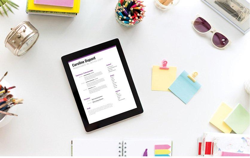 Un exemple de CV classant les renseignements et atouts professionnels du postulant dans des couleurs vives, des colonnes et des gros titres.