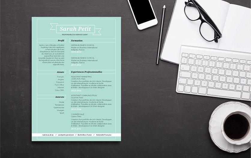 Un CV créatif et sobre dédié tant aux hommes que les femmes.