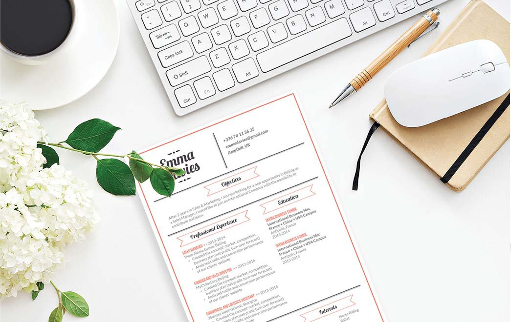 A simple resume with a clear and effective design amde to wow the recruiter