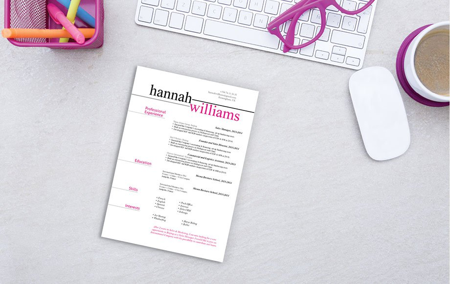 A functional resume template that has all working parts matching perfectly
