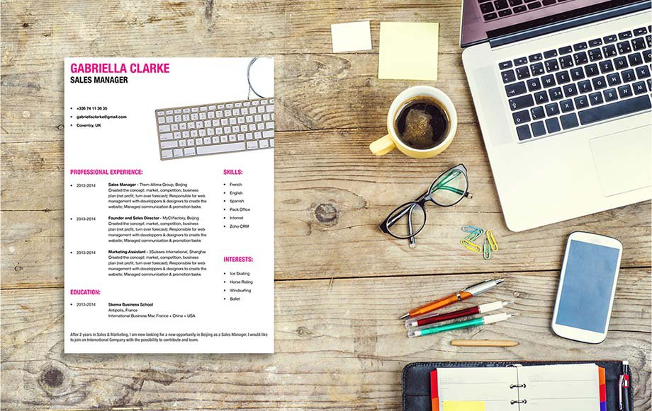 A great resume template for candidates looking for work in ther writing world