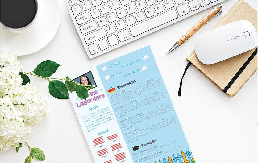 Un cv créatif enjolivé par une mise en page structurée et des informations mises en exergue par de jolis dessins