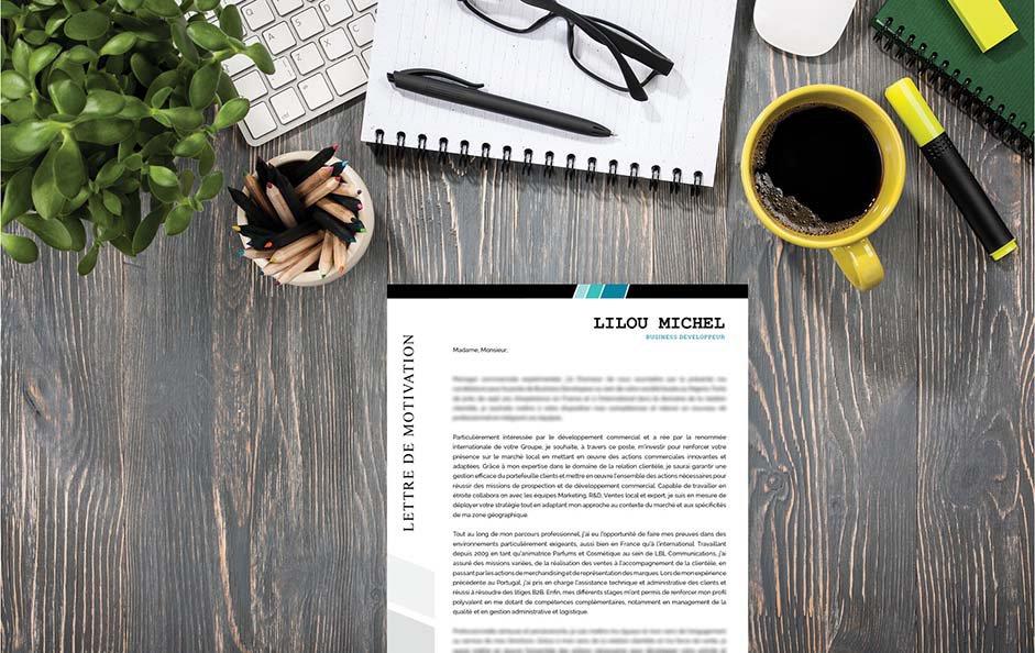 Un modèle de lettre de motivation innovante, classe et design pour distinguer la candidature du postulant.