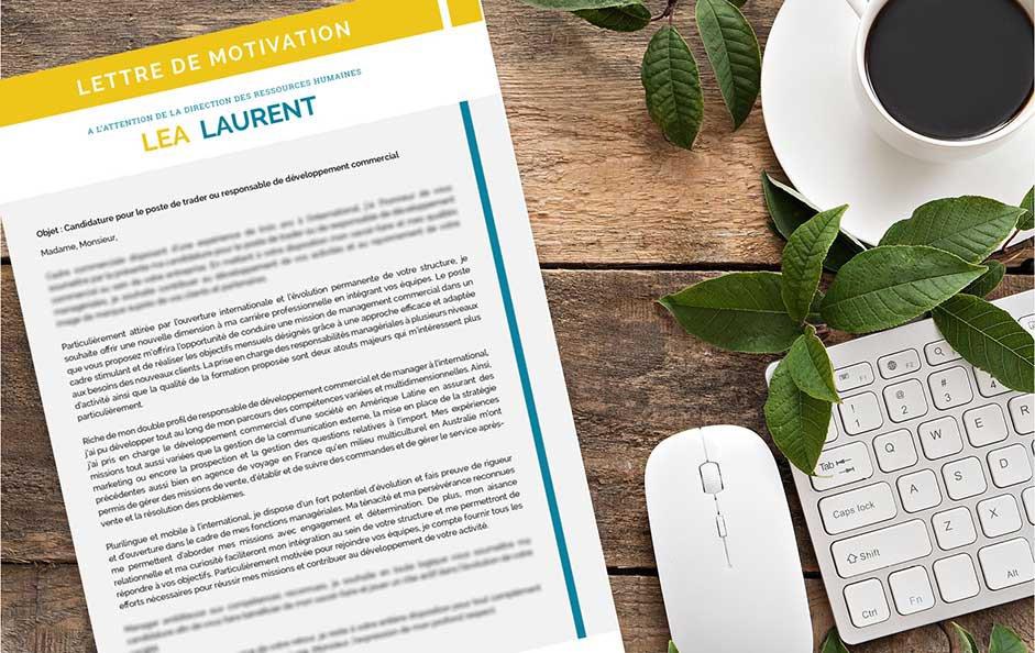 Une lettre de motivation design élaborée de manière artistique avec une mise en page aérée.