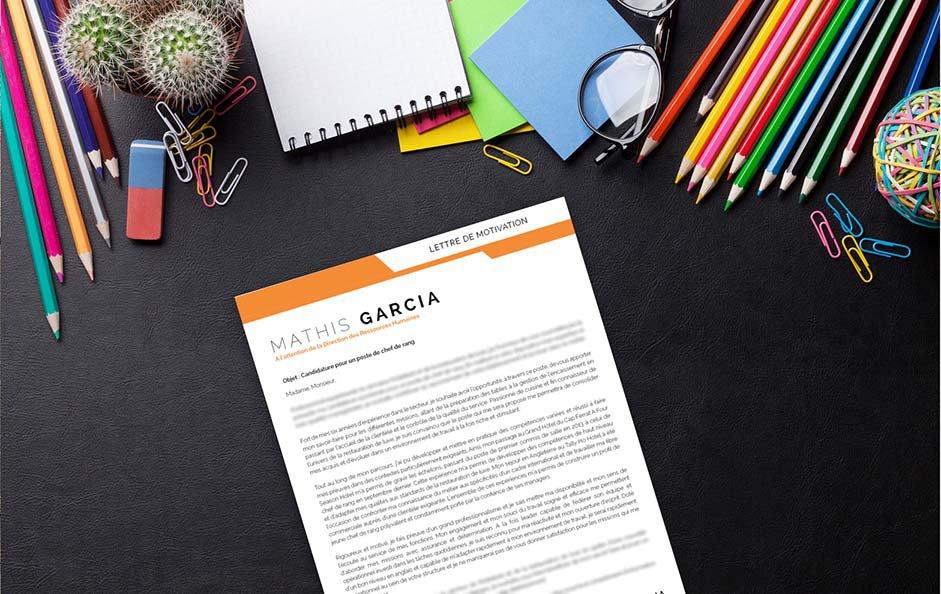 Un modèle de lettre de motivation décorée et mise en page d'une manière originale.