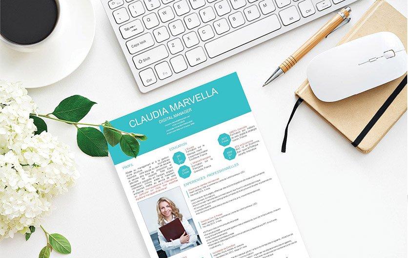 Un CV professionnel atypique où le bleu sert à démarquer et distinguer la candidature du postulant des autres concurrents.