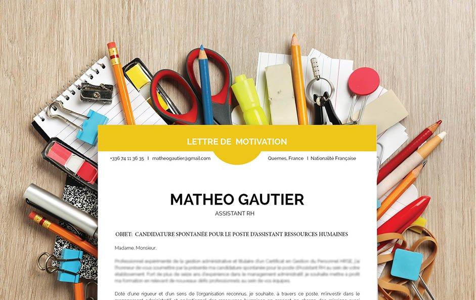 Un modèle de lettre de motivation qui se distingue par les formes et une couleur vive.