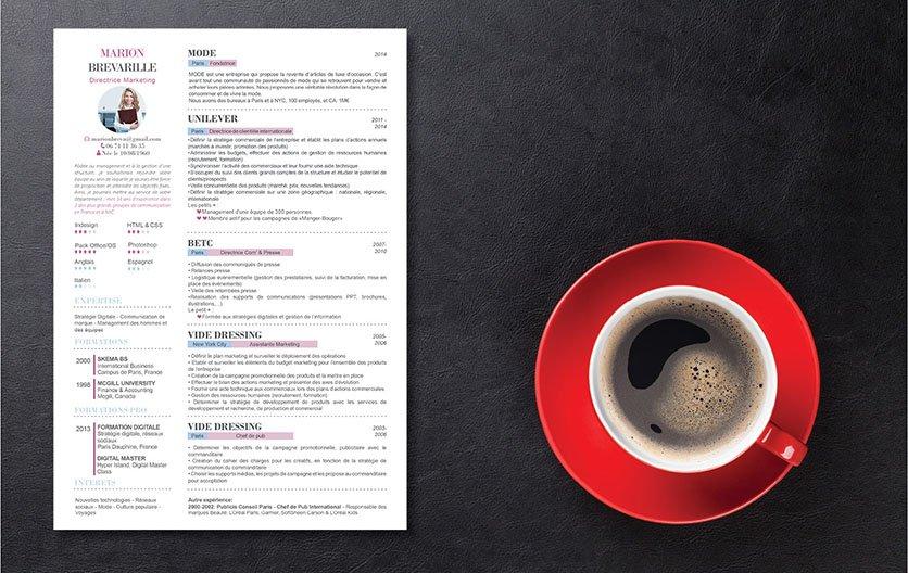 Un CV template mariant astucieusement le bleu et le rose avec des détails charmants décorant son contenu.