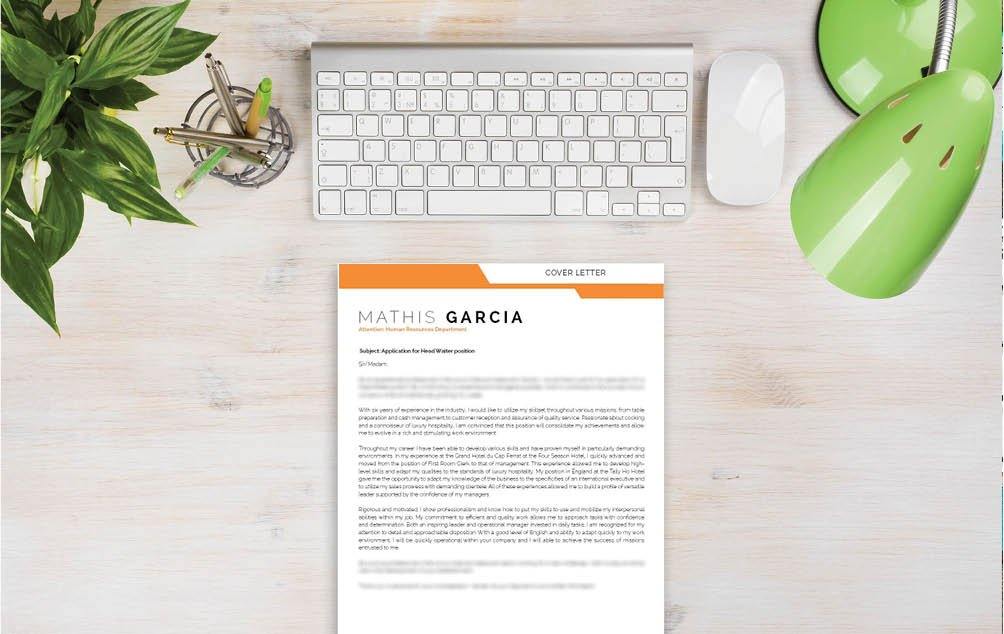 A simple  cover letter template with a clean and functional design is crafted for the hospitality sector