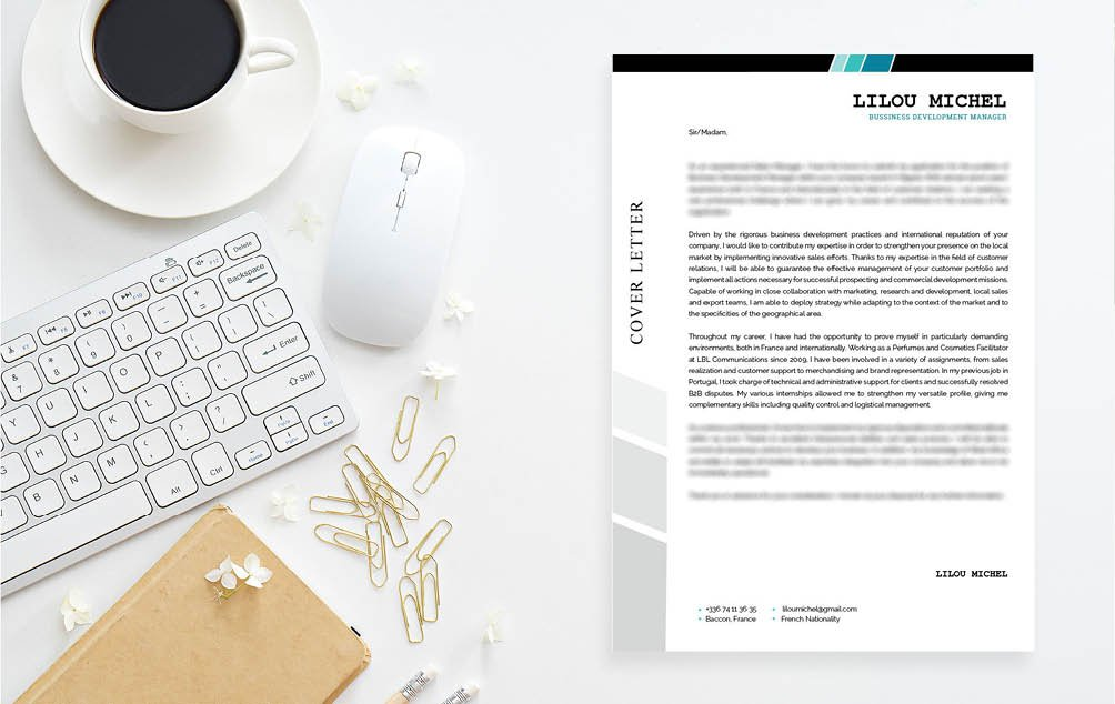 No need to look further, this  cover letter format has an artistic design perfect for the art professional