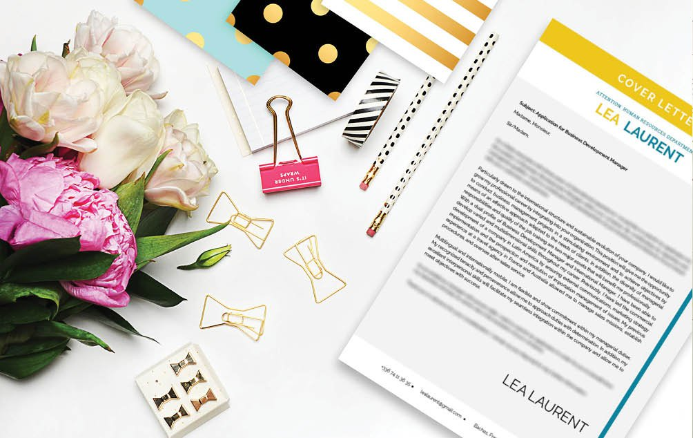 The blend of designs and colors will make this cover letter template a sure winner
