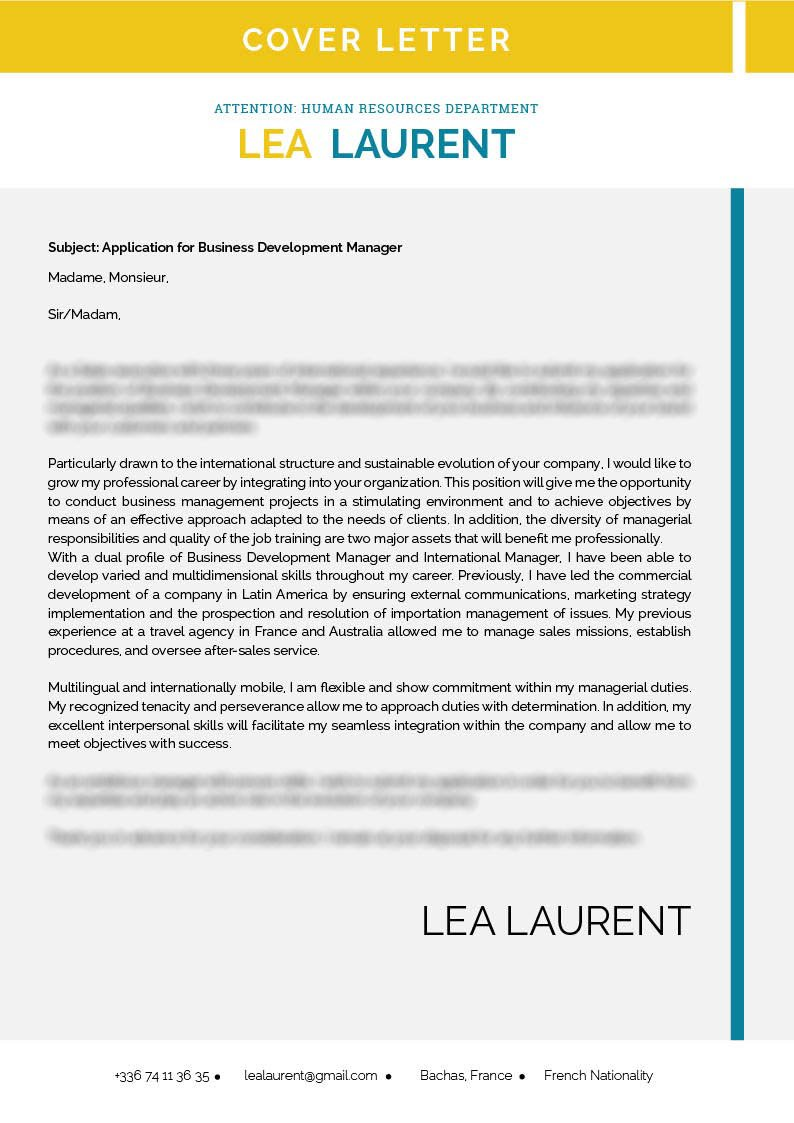 Grab the attention of your recruiter with this  cover letter template's great design and format