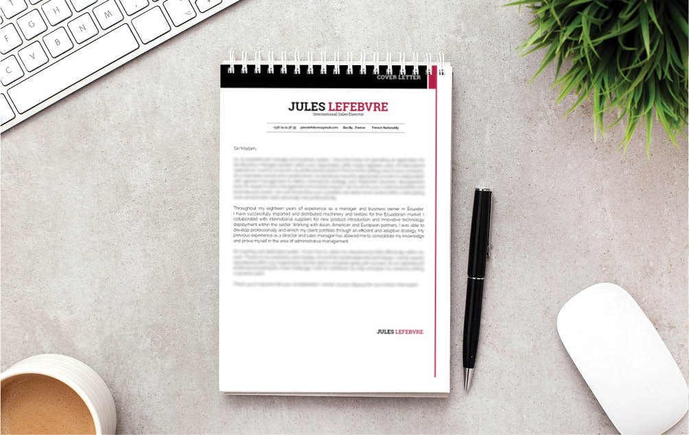 Simple set of colors and styles, a cover letter template