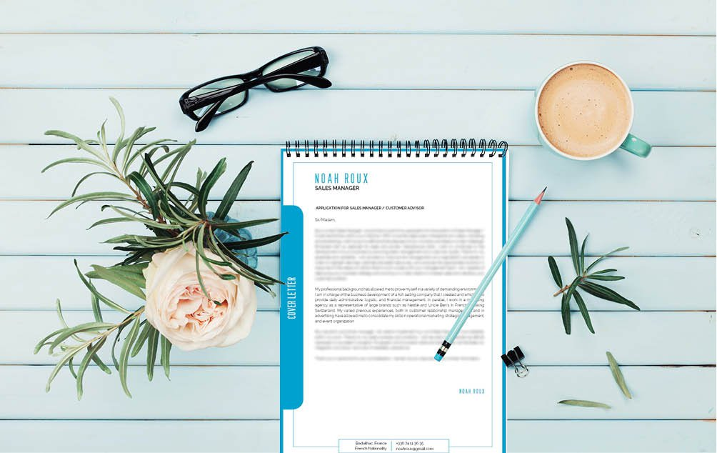 An expertly crafted color scheme, graphics, and styles are found in this simple  cover letter template