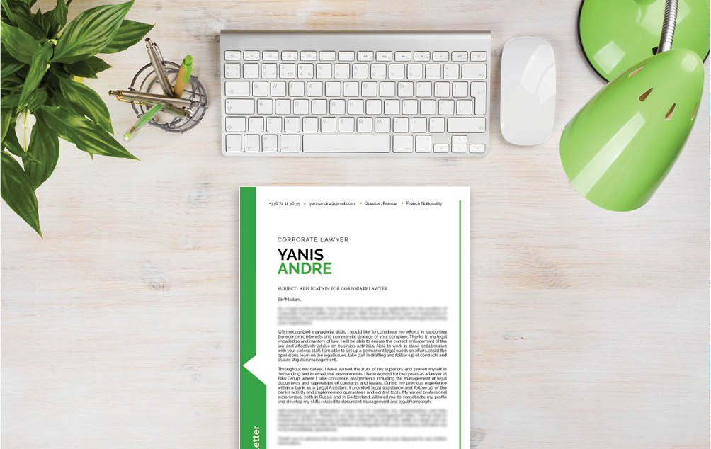 A clean  cover letter format for the law sector