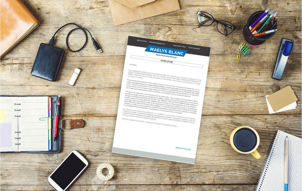 A great mix of colors and designs make this the best cover letter template for marketing jobs