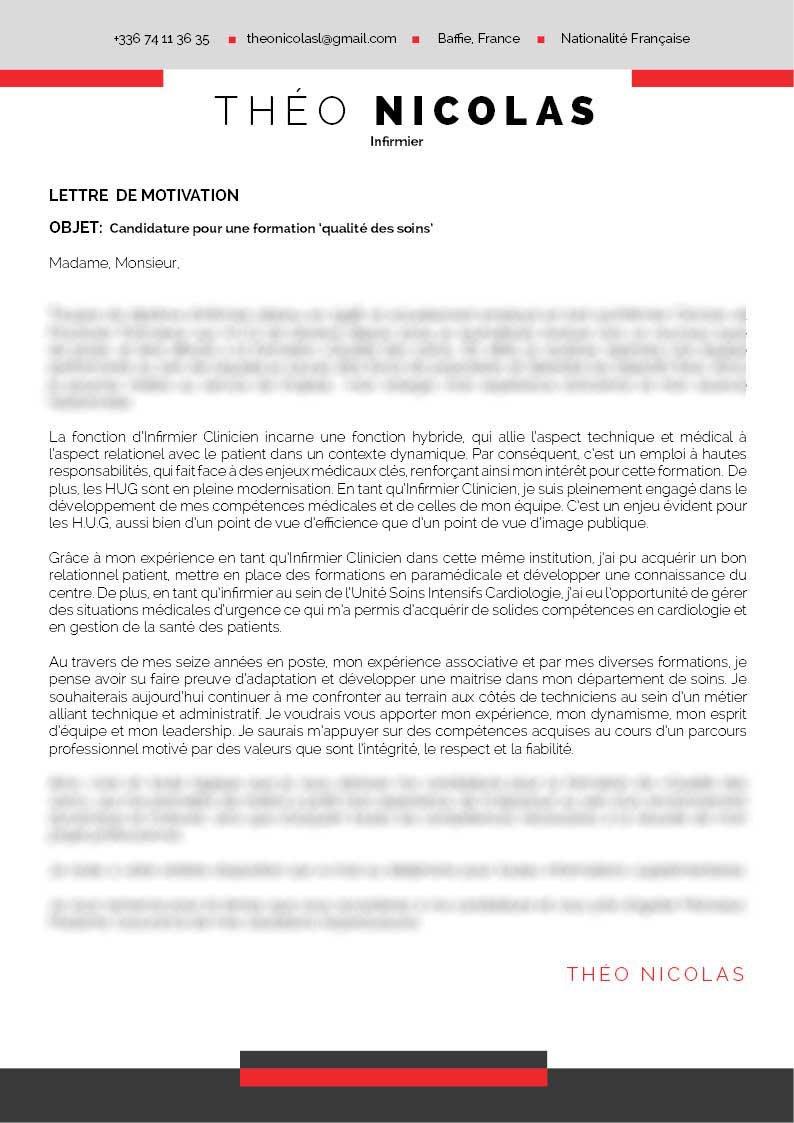 Une lettre de motivation professionnelle enjolivée d'encadrés dans une nuance de gris et de rouge.