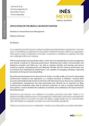 Secretary Cover Letter · myCVfactory