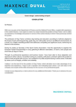 Dog Trainer Cover Letter · myCVfactory