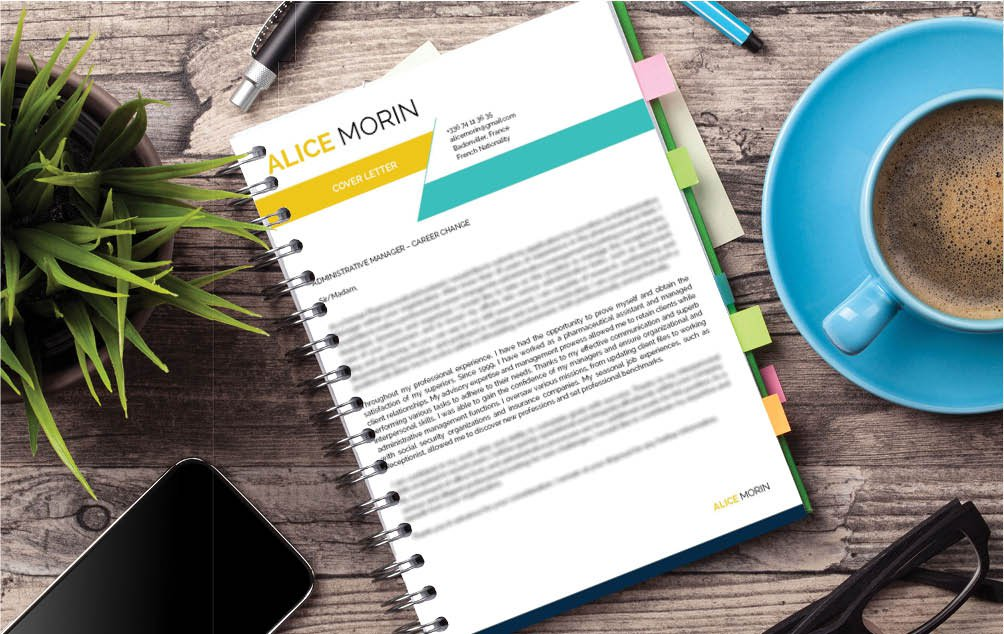 Paint yourself as the perfect candidate with this simple cover letter template and its colors
