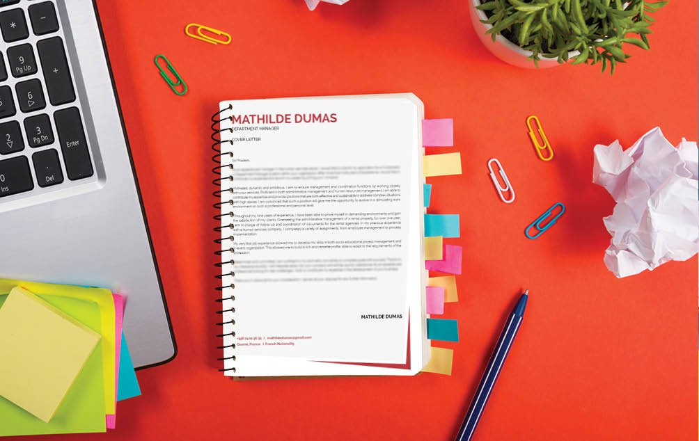 A simple cover letter that weighs heavily with effectivety and functionality