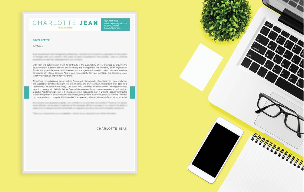 A simple  cover letter format that has an appealing design made for the tourism sector