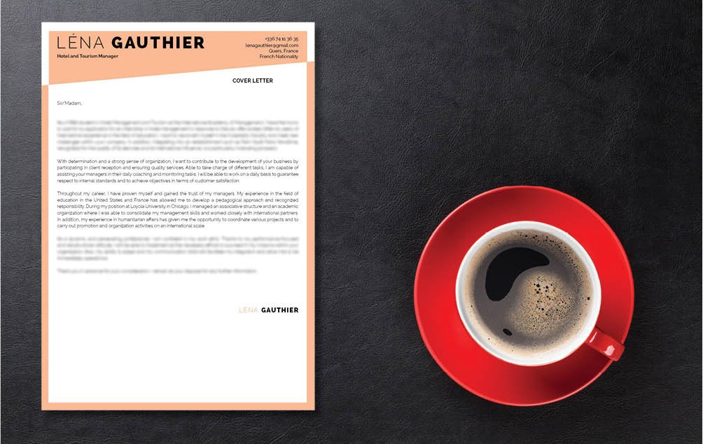 A professional  cover letter with a great choice of fonts and designs!