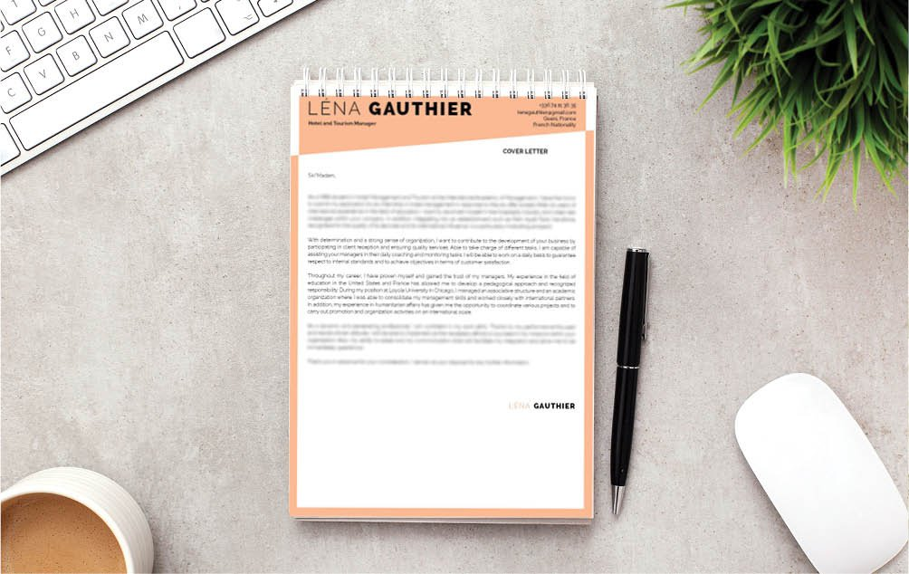 A perfect color scheme in this professional  cover letter