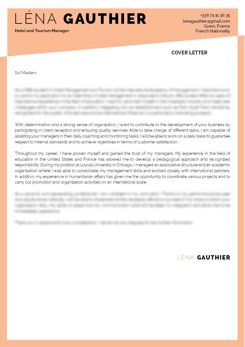Clear and consice -- a professional  cover letter with the ideal format!