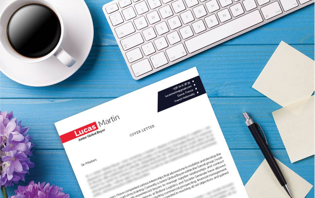 The colors and designs mix well in this cover letter template
