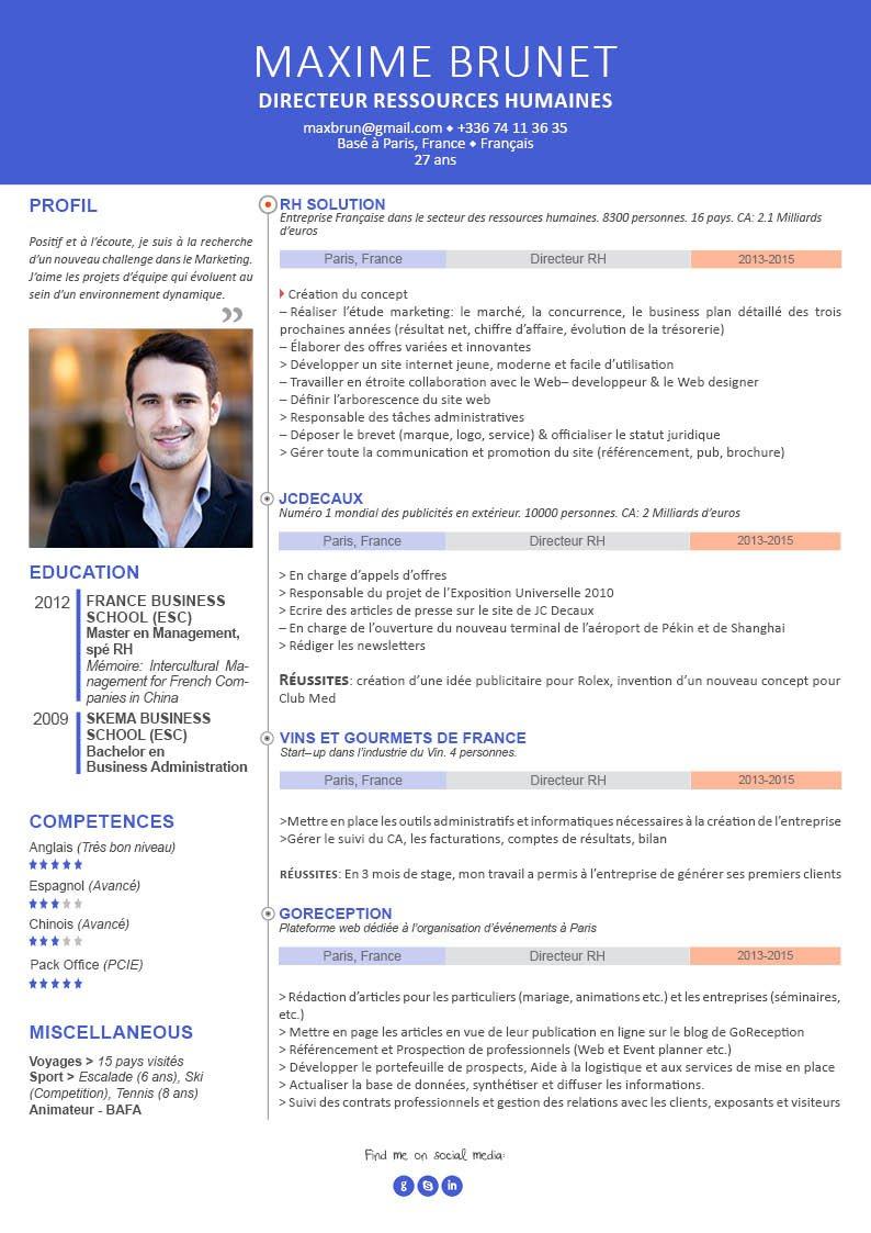 Un exemple de CV répartissant dans deux colonnes, des encadrés et avec des intitulés colorés les détails des informations professionnelles du candidat.