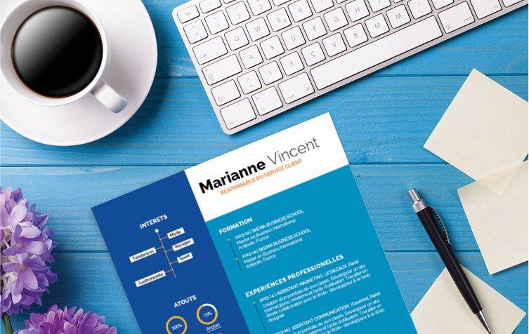 Un modèle de CV mettant en valeur toutes les informations du candidat avec des formes géométriques colorées et des polices en blanc.