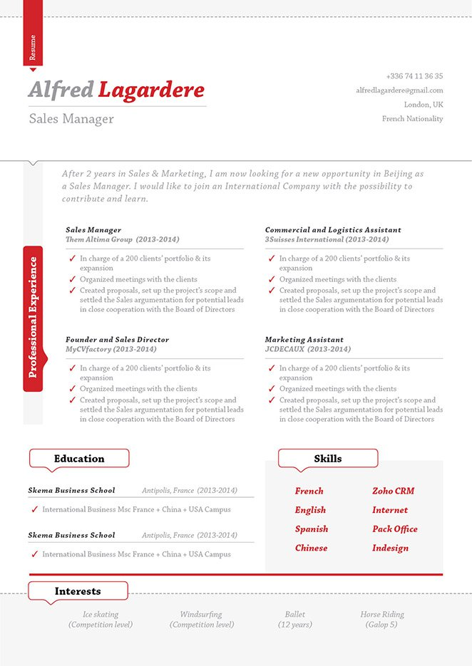 A clean template, the best resume format online!