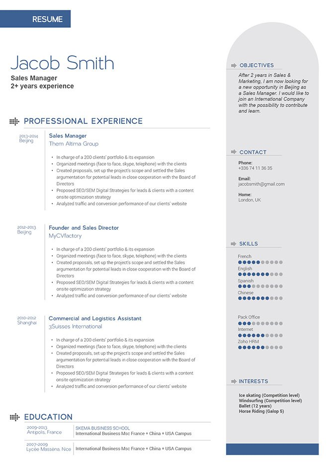 Simple resume template's design will wow the audience