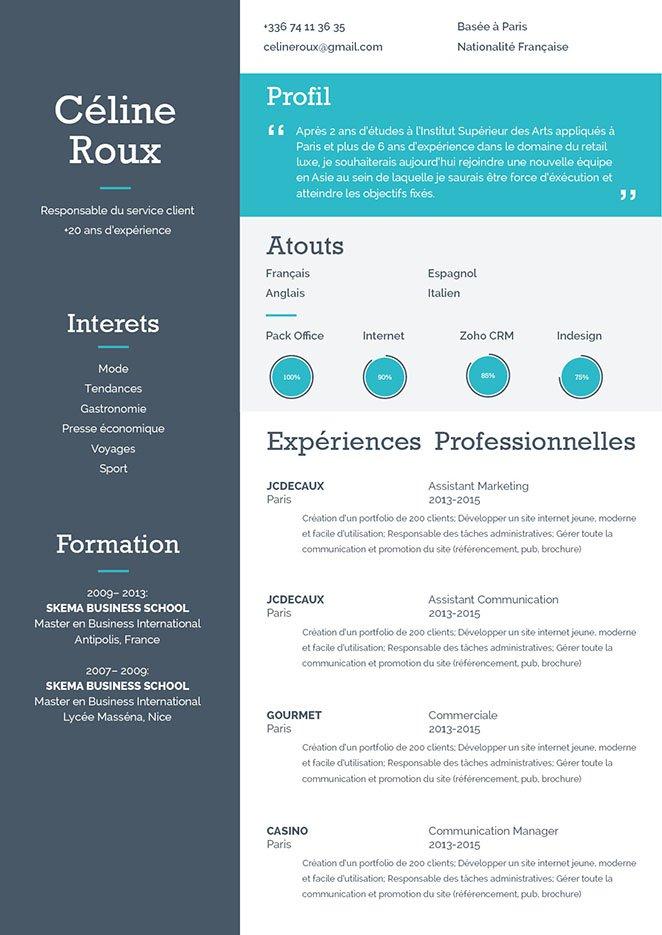 Modèle de CV Pondéré, un Curriculum Vitae créatif, très lisible, avec un rendu très agréable