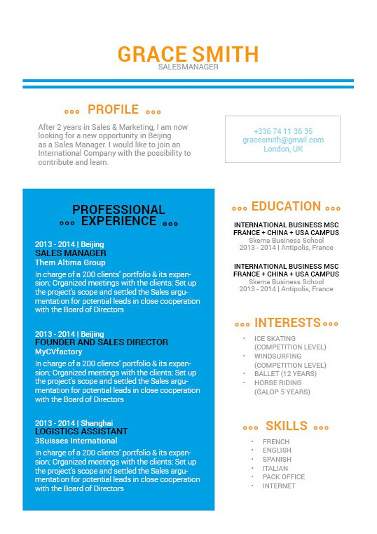 The format mixes perfect with the design to create an effective work resume