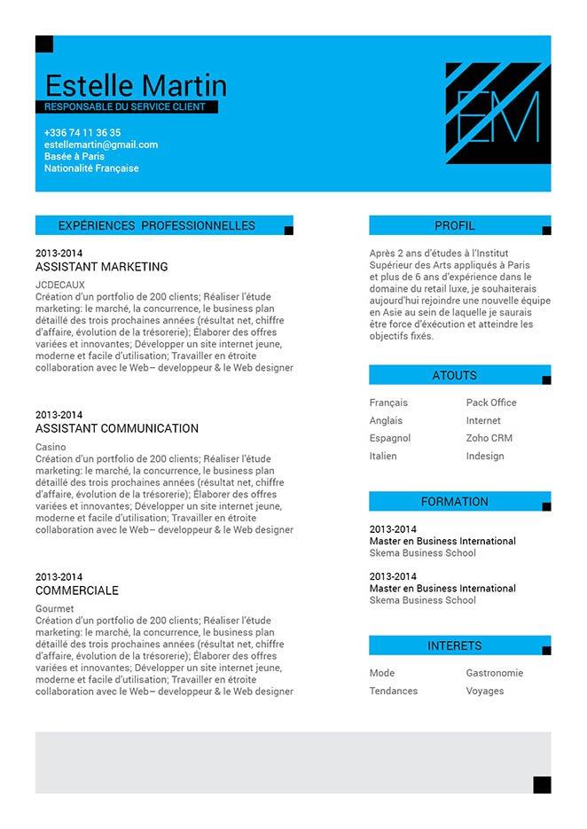 Un modèle de CV percutant de par ses couleurs et sa mise en page pas comme les autres.