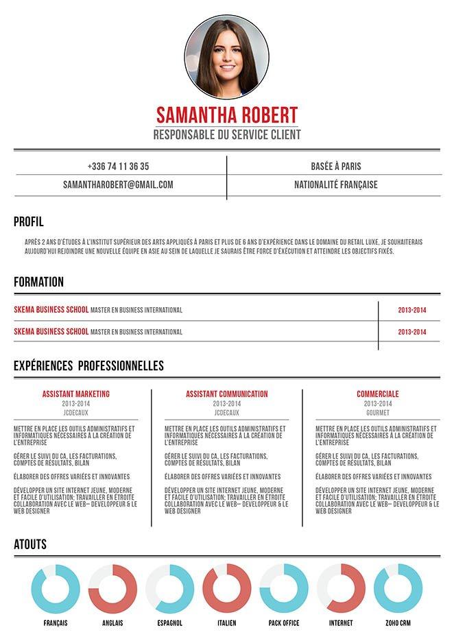 Un modèle de CV percutant de par sa mise en page osée et originale.