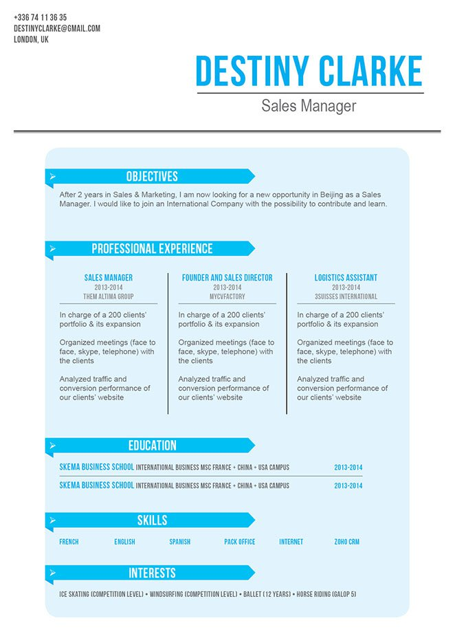 A standard resume template that speaks volumes thanks to a great formatting chase