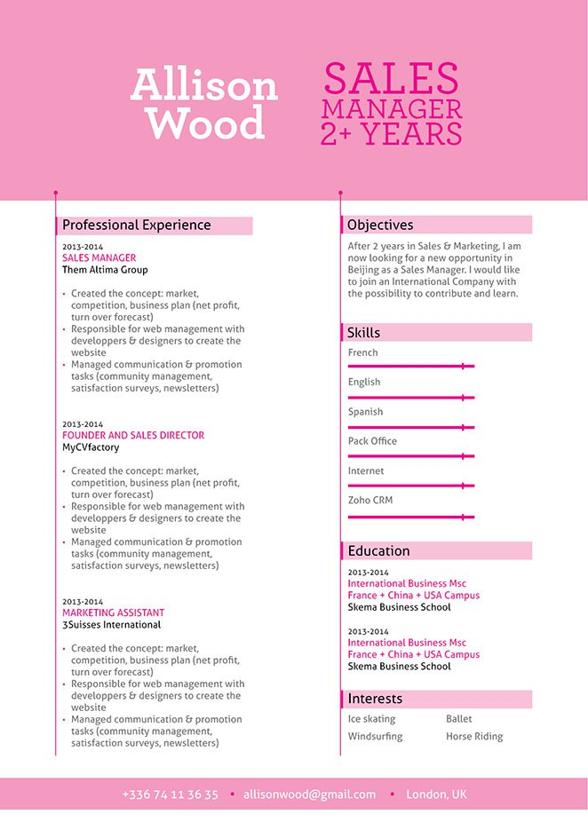 This functional CV has a great format that presents all relevant contante to the employer greatly