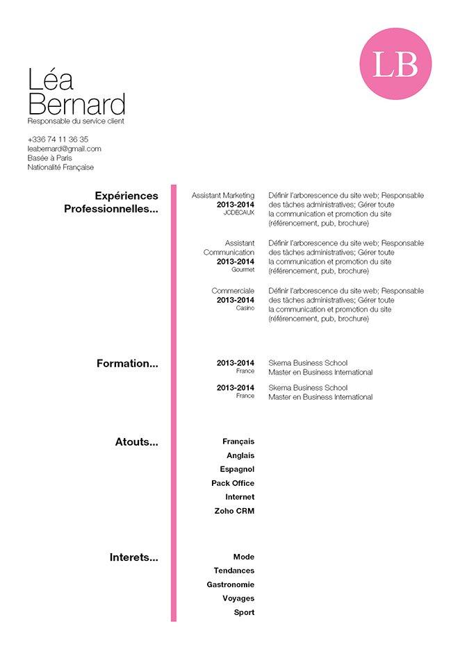 Exemple de CV typiquement féminin, très bien organisé et facile à lire.