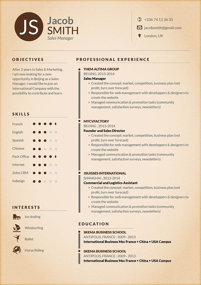 A professional format can be found in this resume template