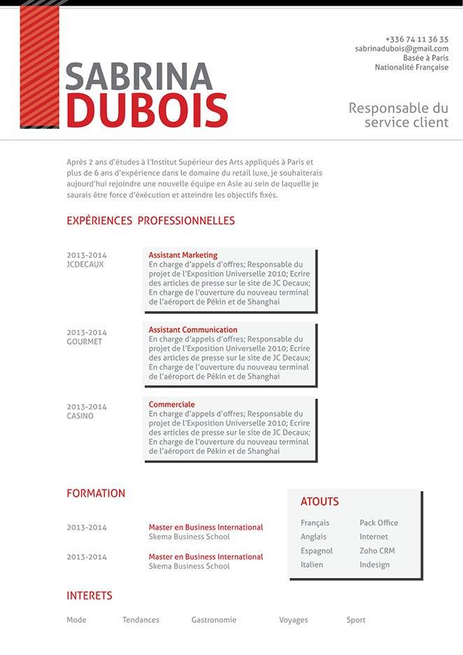 Un exemple de CV créatif, très détaillé et pourtant facile à lire.